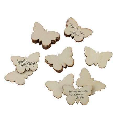 papillons en bois etiquettes à messages livre d'or champetre