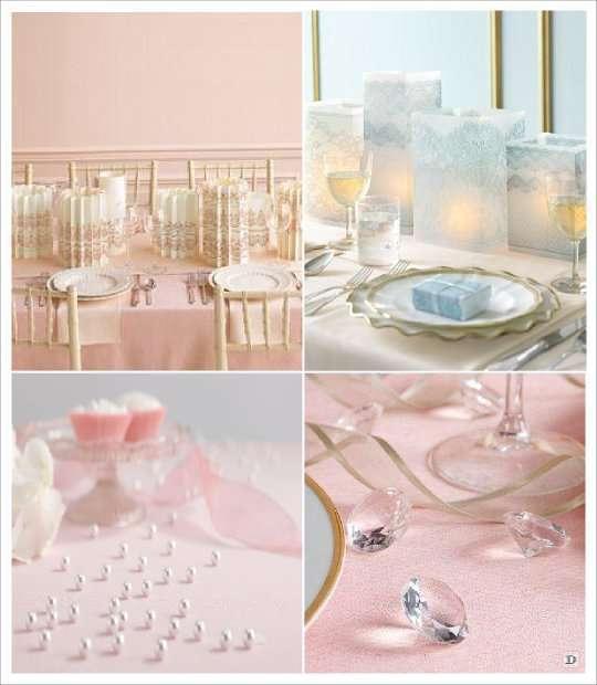 decoration table baroque photophore dentelle perles diamant