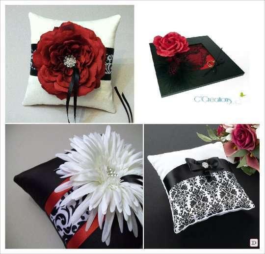 mariage baroque coussin alliances noir et blanc rouge, cadre dentelle
