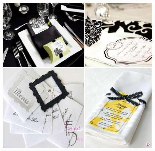 menu mariage baroque carte damas dans serviette cadre carte rond serviette