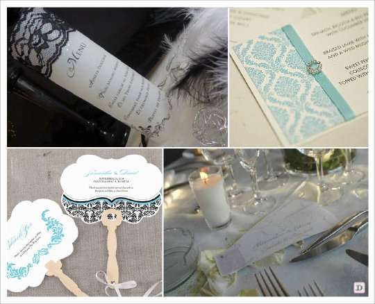 menu mariage baroque photophore dentelle boucle strass eventail