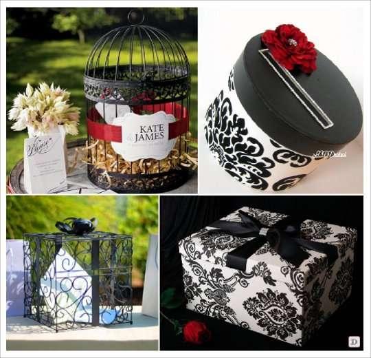 urne mariage baroque cage paquet cadeau boite damas