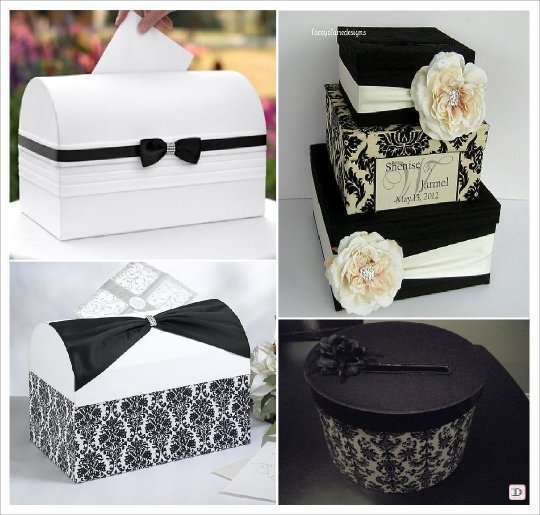 urne mariage baroque coffre carton tissu