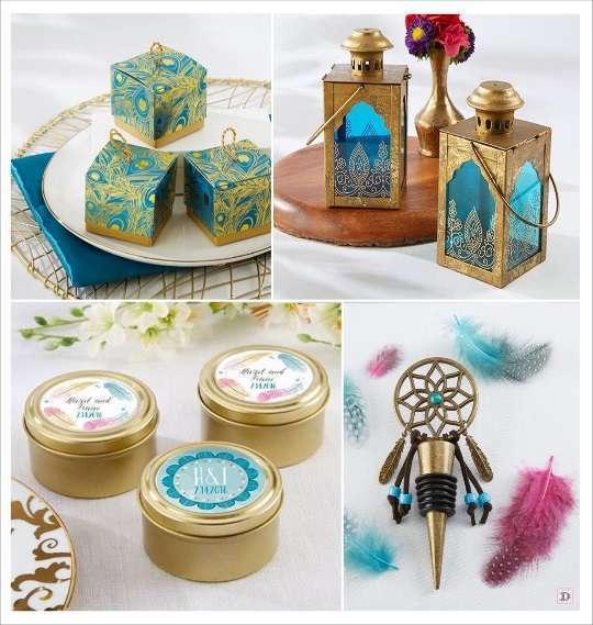 decoration mariage bohème cadeaux boite dragées plume de paon lanterne orientale bouchon stopper