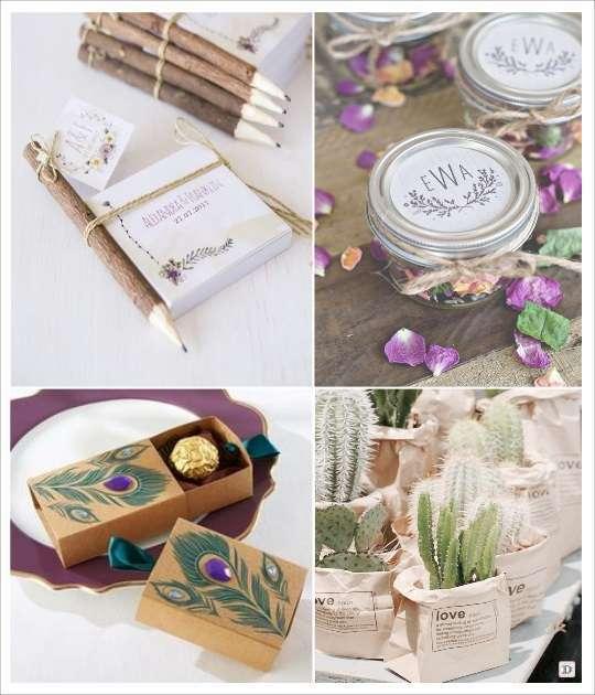 decoration mariage bohème cadeaux aux invites bloc notes pot pouri cactus boite dragées plume de paon