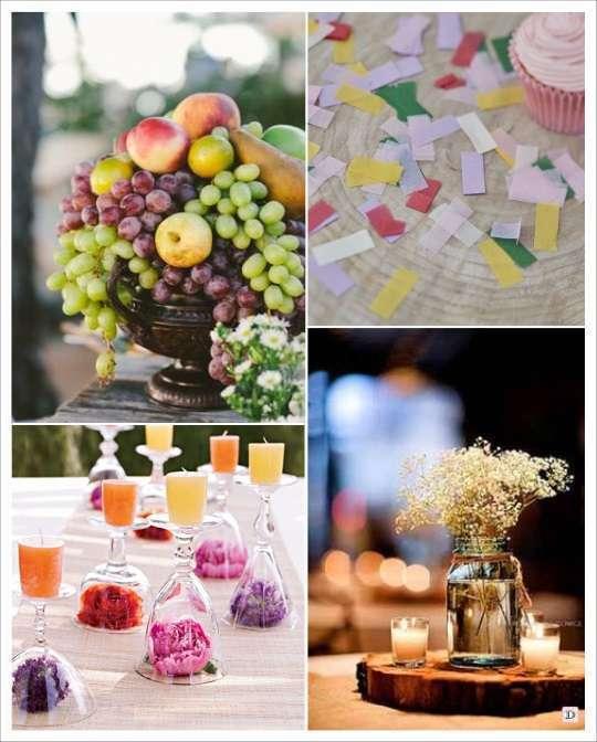 decoration mariage boheme centre de table fruits rondin de bois