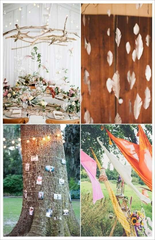 decoration salle mariage boheme bois suspendu gruilande lumineuse voilage guirlande de plumes