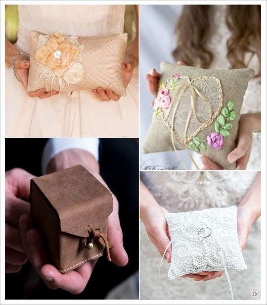 decoration mariage bohème coussin alliances brodé perles étui en cuir