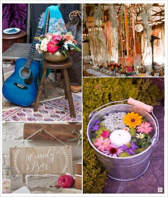 decoration salle mariage boheme guitare pancarte en bois seau en zinc