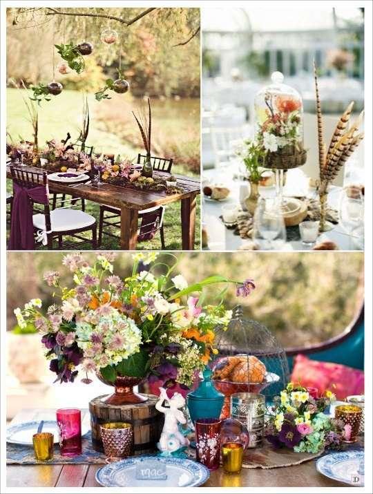 decoration mariage boheme centre de table plumes cloche en verre