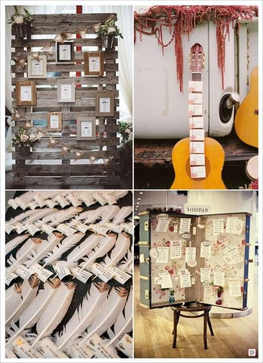 decoration mariage boheme plan de table escort cards palette en bois guitare malle valise