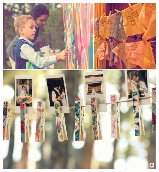 decoration mariage bohème livre d'or patchwork polaroid