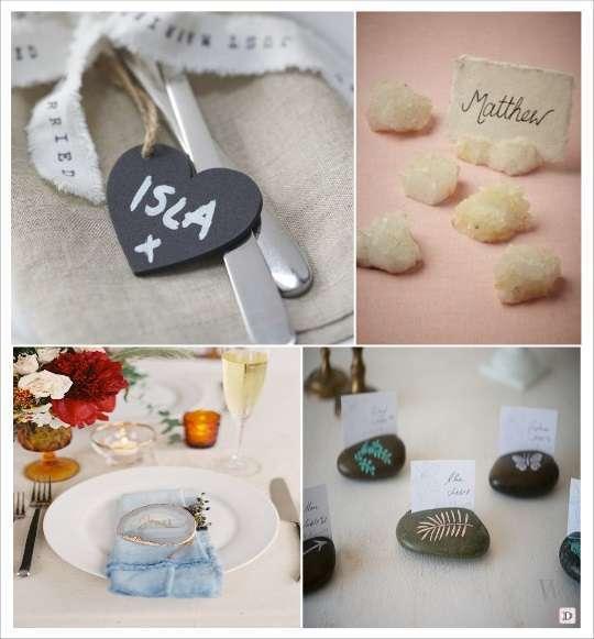 mariage boheme marque place galet pierre quartz coeur ardoise