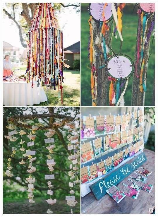 decoration mariage bohème plan de table attrappe rêves rubans semences