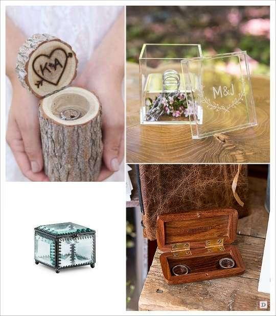 decoration mariage bohème porte alliances rondin plexiglas gravé coffret en bois personnalisé