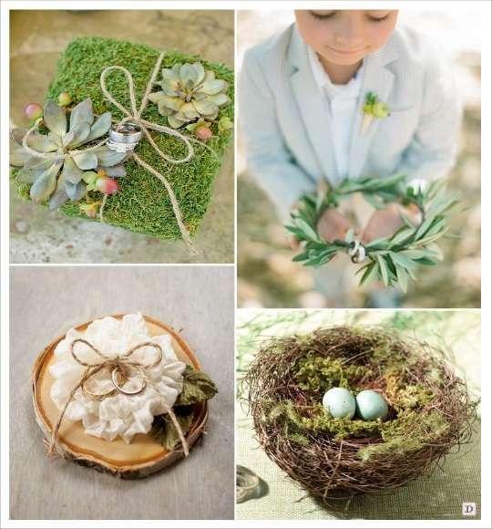 decoration mariage bohème porte alliances rondin couronne champêtre nid coussin végétal