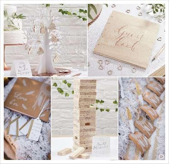 decoration mariage boheme vintage livre d'or bois kraft arbre empilement
