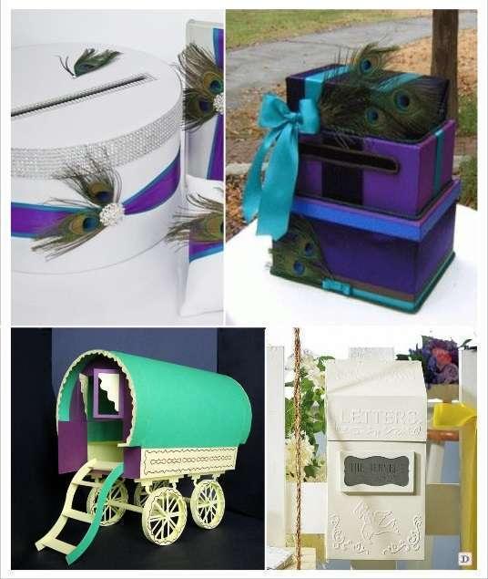 decoration mariage bohème urne tirelire plume de paon boite aux lettres roulotte maquette