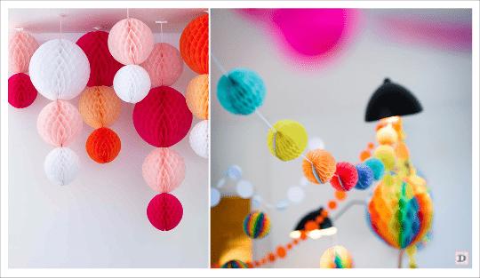 decoration salle boule en papier alveolée