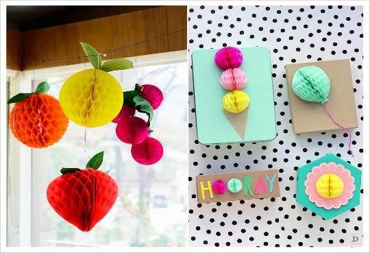 decoration boule papier faire part fruit