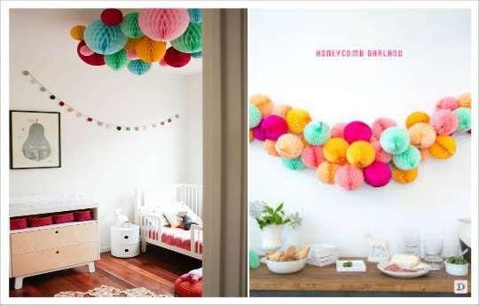 decoration salle guirlande de boule en papier