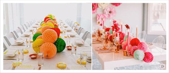decoration table avec boule papier