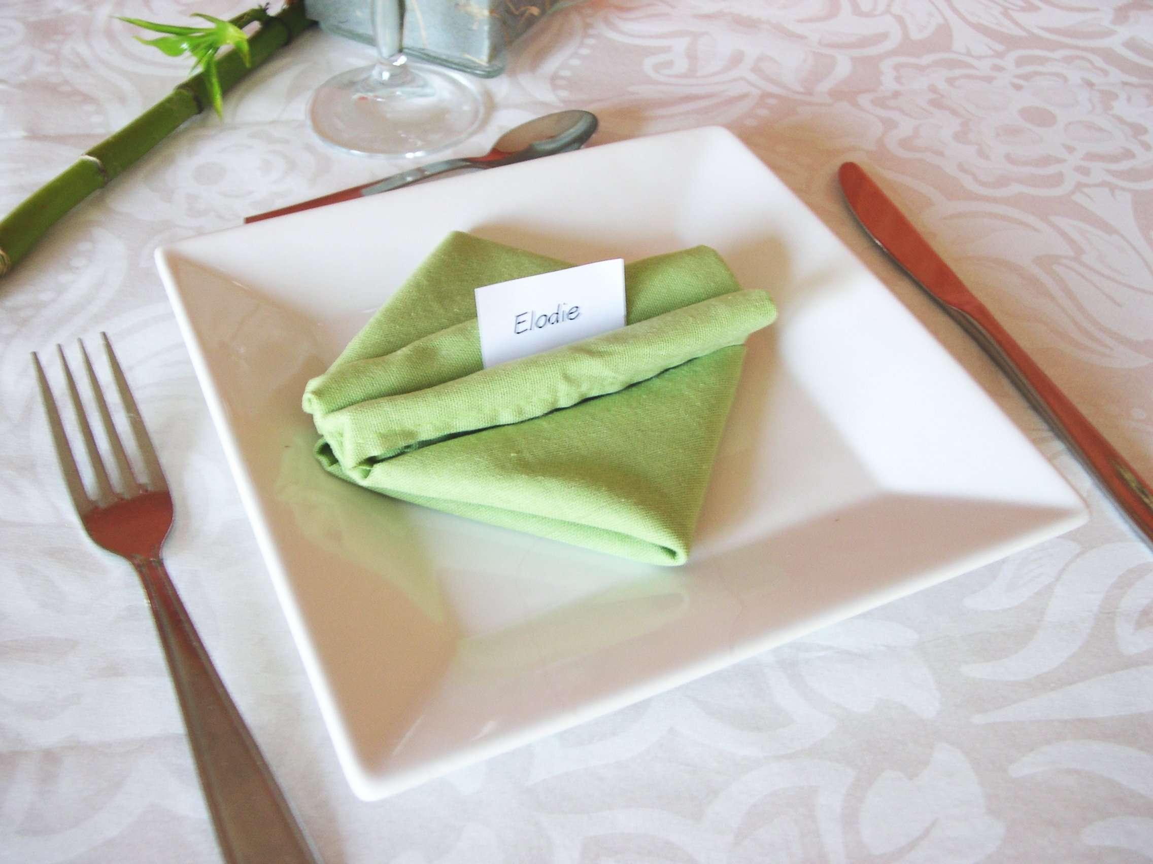 decoration mariage thème asie zen pliage serviette bourse de soie