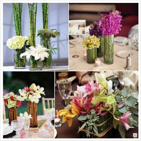 decoration de  mariage branche de bambou centre de table