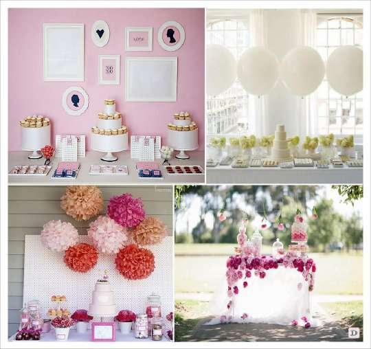 candy bar arriere plan cadre pompons papier roses ballons