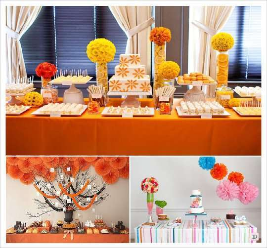 candy bar decoration boule de fleurs arbre en pot ruban sur table