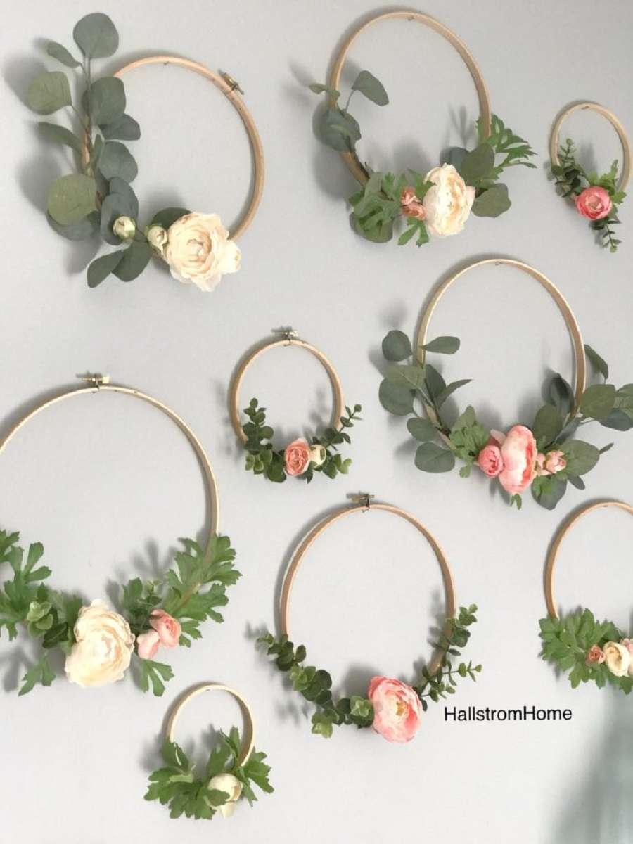 decoration suspension florale cercles broder mariage