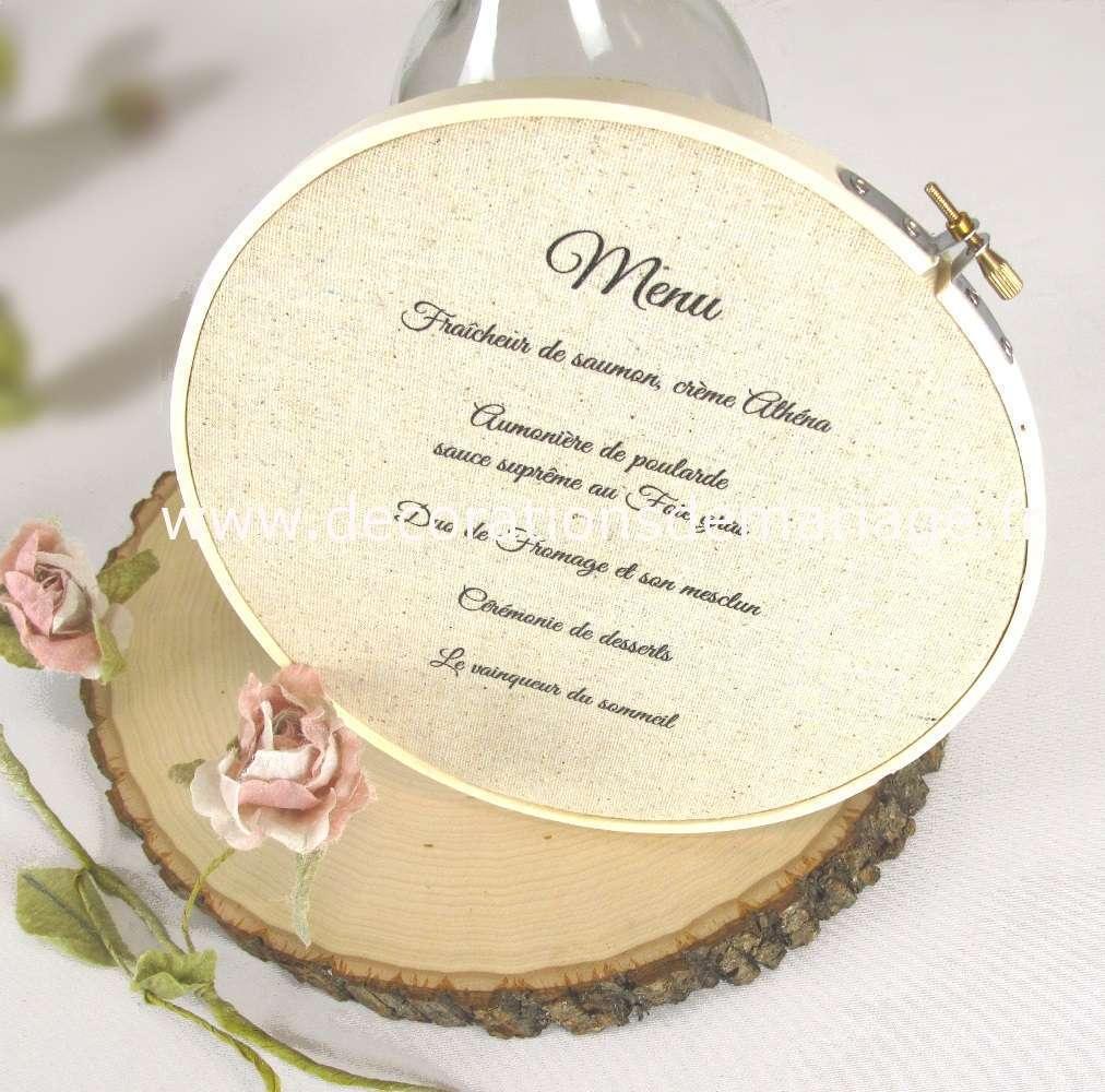 tambour broderie cercle broder menu mariage