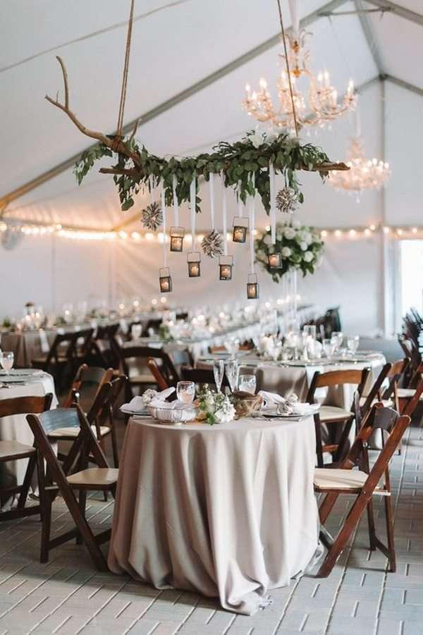branchage suspendus decoration mariage champetre salle