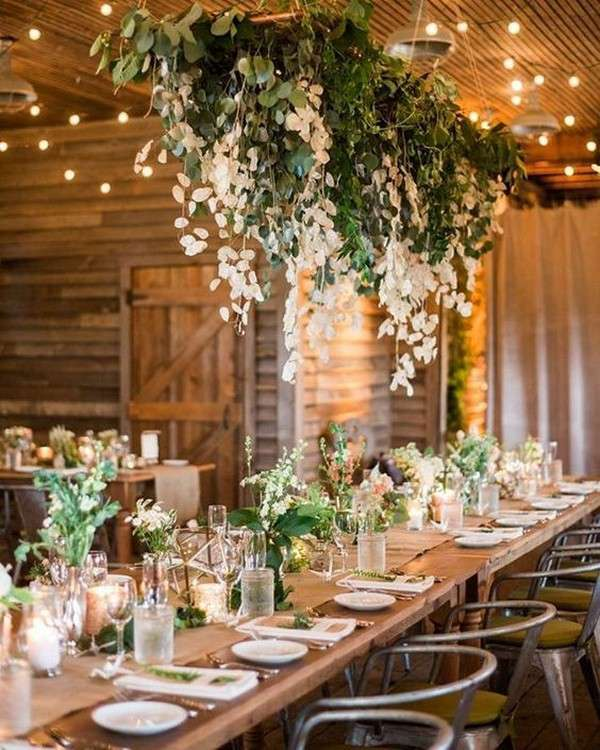 decoration table mariage champetre feuillages eucalyptus
