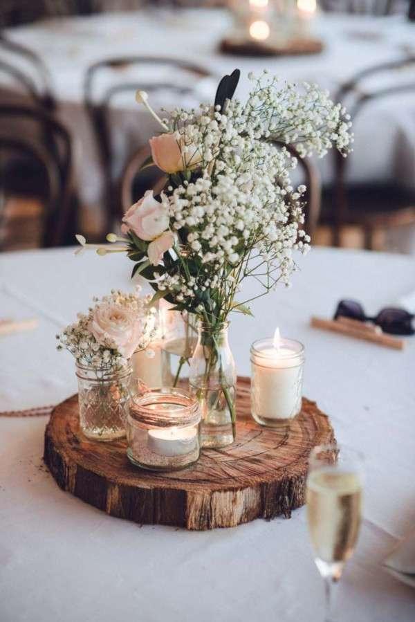 decoration table champetre rondin bois