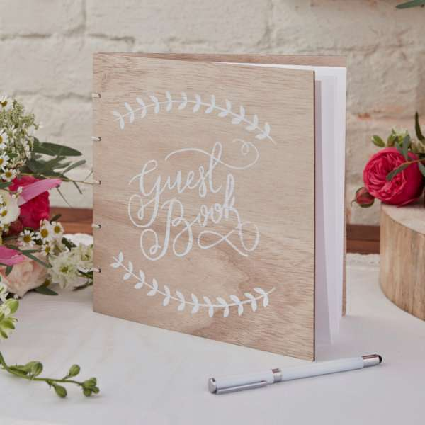 livre d'or mariage champetre couverture bois