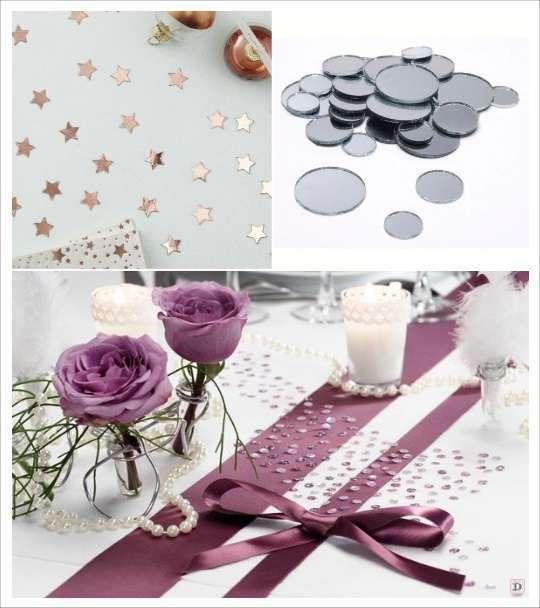 decoration table mariage confettis table étoiles miroir strass