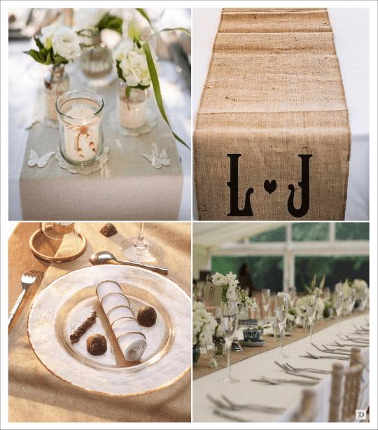 decoration table mariage chemin table toile de jute lin