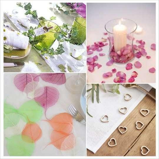 decoration table mariage confettis table coeur bois petales lierre feuilles squelette