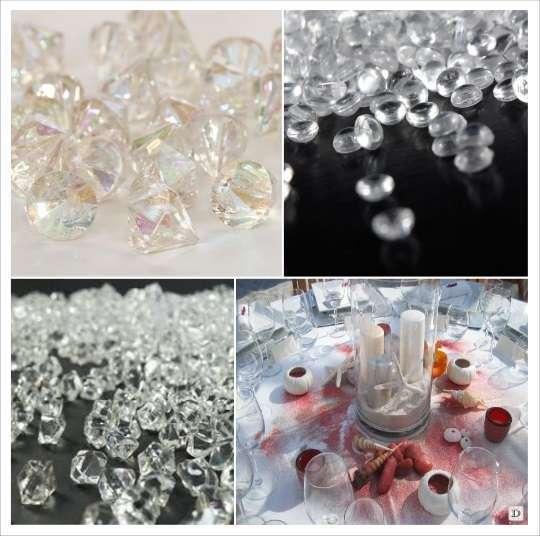 decoration table mariage confettis table cristaux diamant perles de pluie sable