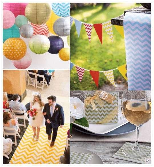 decoration mariage chevron lampion en papier guirlande de fanions chevron tapis deglise dessous verre chevron