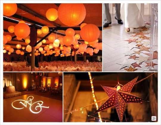 decoration salle mariage lanterne bouel papier spot initial  étoile à suspendre