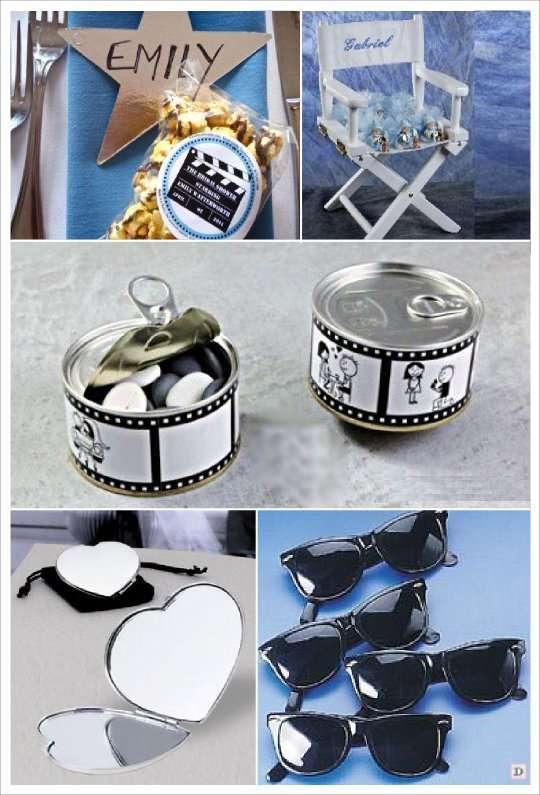 decoration mariage cinema cadeaux invités popcorn lunette soleil miroir