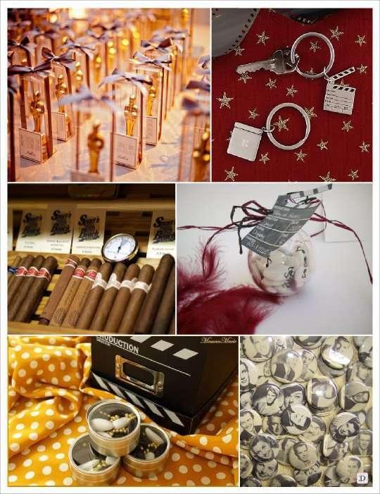 decoration mariage cinema cadeaux invités mini oscar porte clé clap badge