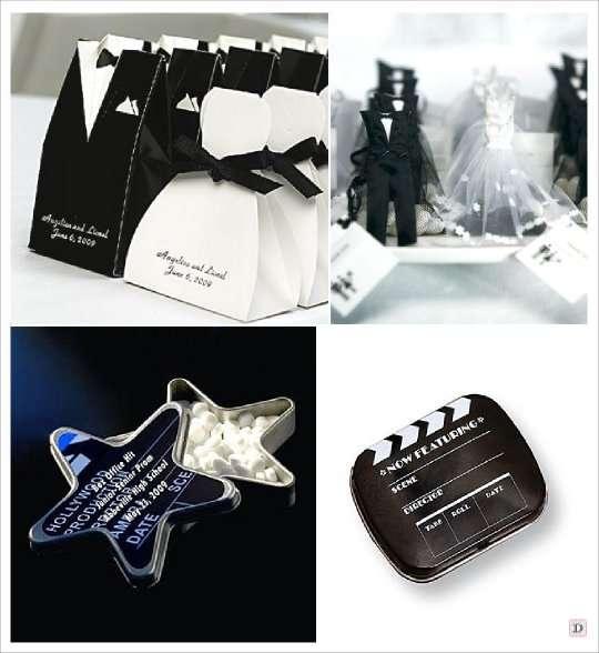 decoration mariage cinema cadeaux invités boite dragees costume smoking pochon dragees boite pastille étoile clap