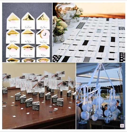 decoration mariage cinema escort card enveloppe clap boule transparente
