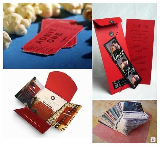 décoration mariage thème cinéma faire-part ticket cinema pochette