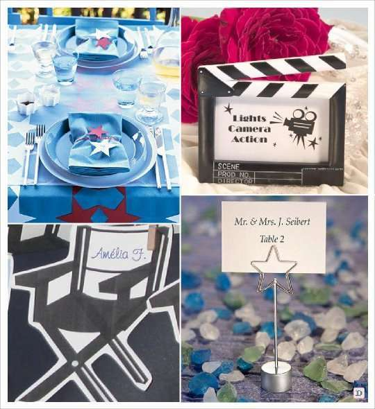 décoration mariage thème cinema marque place porte nom chaise  cadre clap étoile
