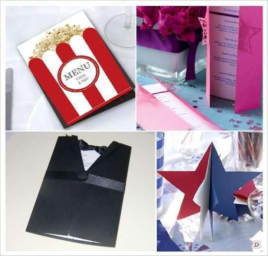 décoration mariage thème cinéma menu carton pop corn smoking etoile