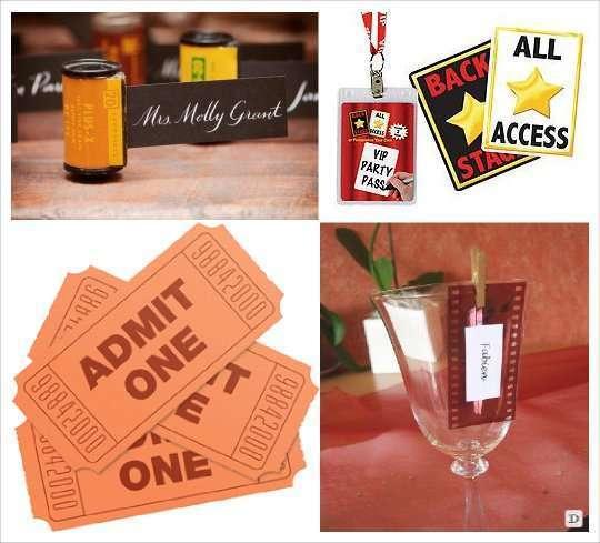 décoration mariage thème cinéma marque place porte nom pellicule pass VIP  étoile  hollywood étoile dorée sur verre